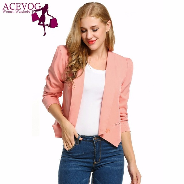 ACEVOG Women Blazer Short Jacket Autumn Spring Fashion Lapel Long Sleeve Open Front Solid Casual Suit Work Office Suit Tops