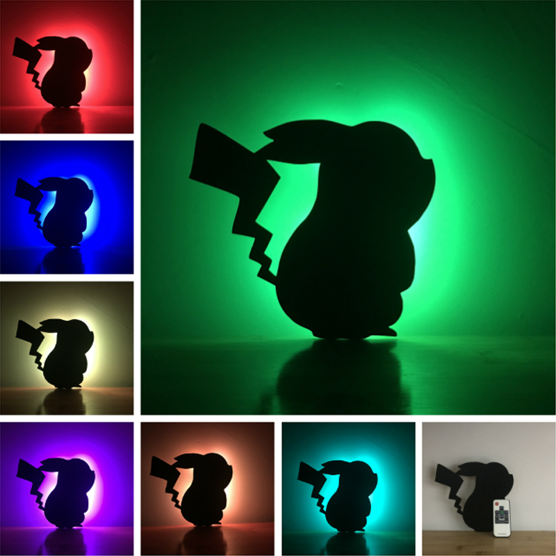 Amroe Pokemon Pikachu Figure Lampara Nigth Light Shadow Projection Remote Control 7 Color Wall Lamp Children Porch Kids Gifts