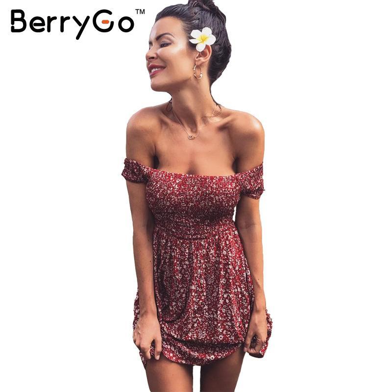 Berrygo sexy hombro imprimir summer dress vendimia de la alta cintura beach dres