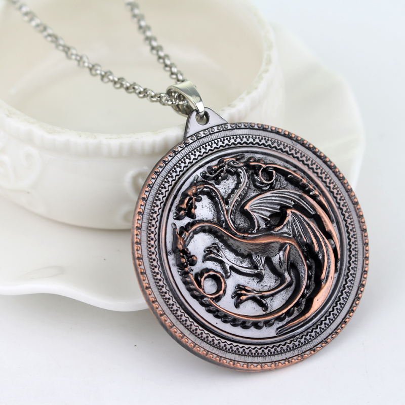 MQCHUN Movie Jewelry The Song Of Ice And Fire Game Of Thrones Daenerys Targaryen Dragon Badge Necklace Valentines Day Gift