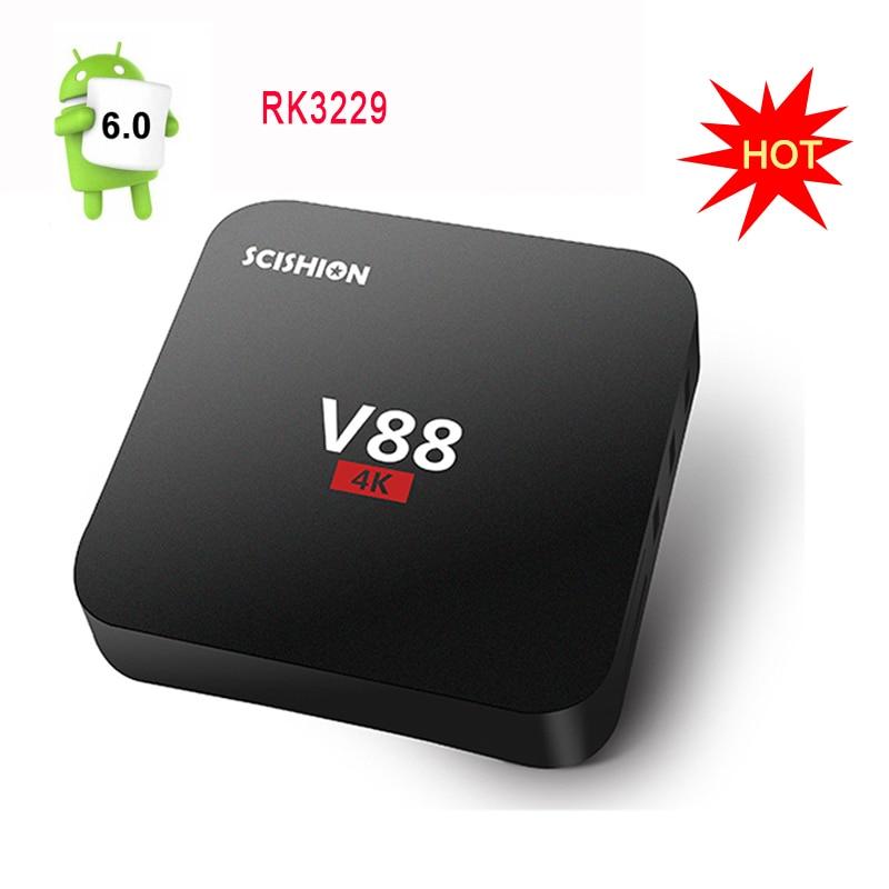 V88 4K Android 6 0 TV Box Rockchip 3229 1G 8G 4 USB 4K x 2K