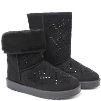 UKNIKI 2018 New Fashion Princess Snow Boots Basic Solid Flat With White Short Plush Mid Calf