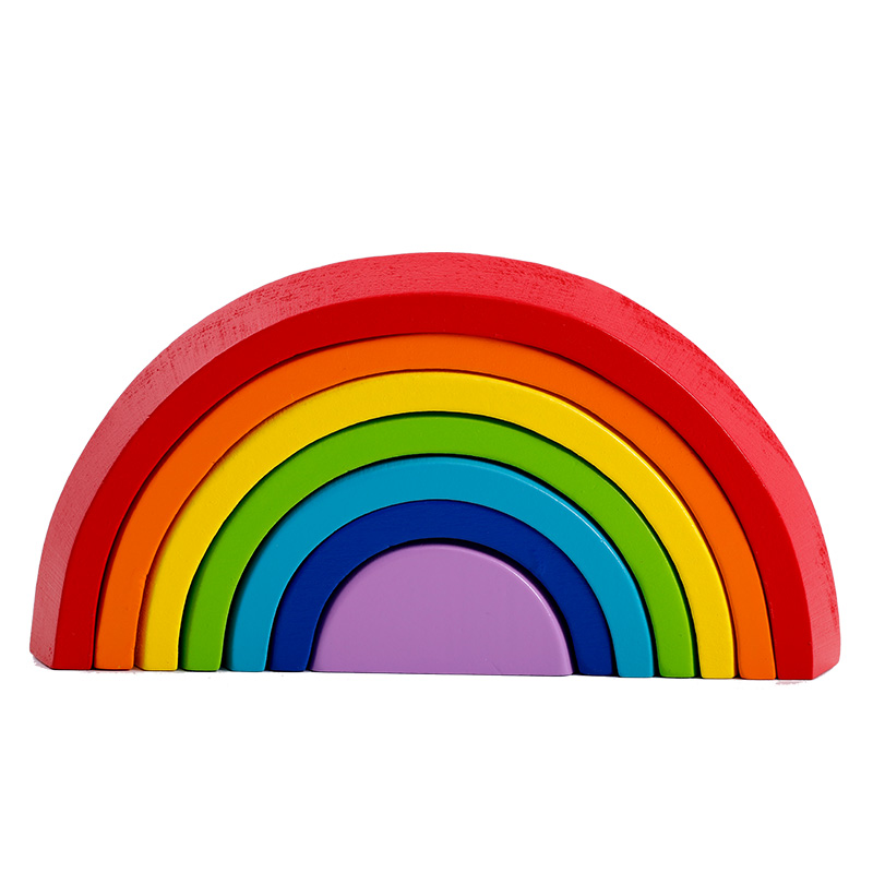 rainbow building blocks mini version Colorful arched building blocks Children's baby wooden stack high toys 50pcs hot sale wooden intelligence stick education wooden toys building blocks montessori mathematical gift baby toys