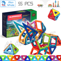 55pcs Dinosaur Set New Magnetic Model Building Blocks Magnets Designer Enlighten 3D Brain Traning DIY Toys