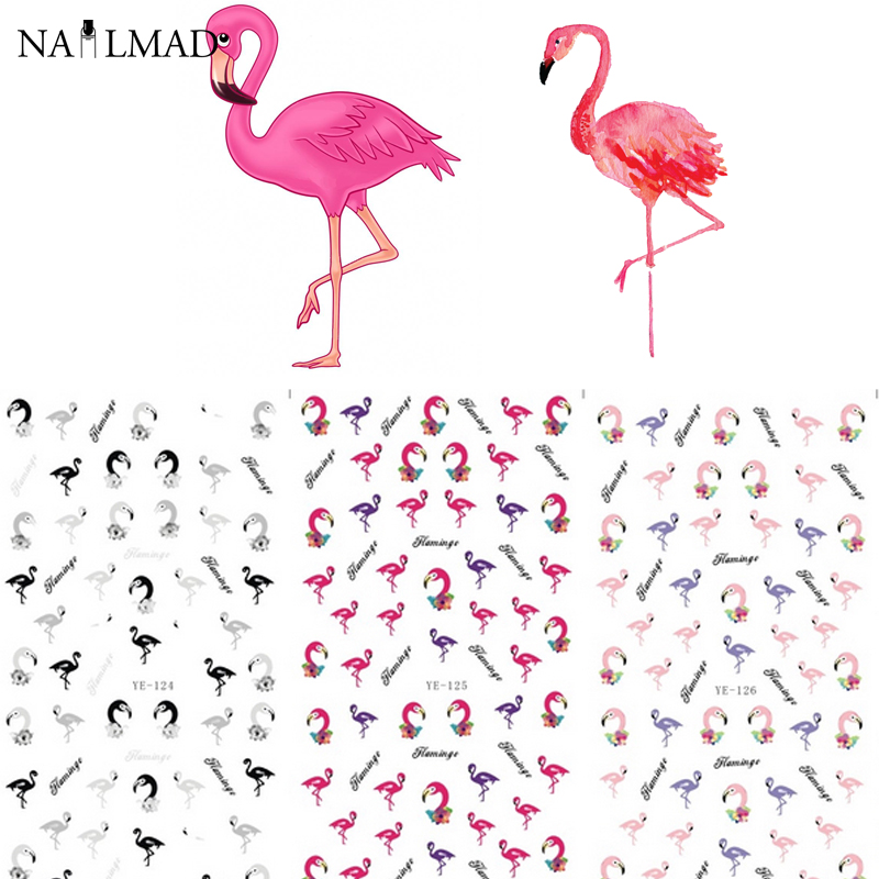 1 sheet NailMAD Colorful Flamingo Nail Water Decals Transfer Stickers Nail Sticker Nail Art Decoration Accessories burumcuk