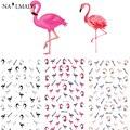 3 padrões/folha Colorido Flamingo Prego Decalques Adesivos De Transferência de Água Etiqueta Do Prego Da Arte Do Prego Acessórios de Decoração YE124-126