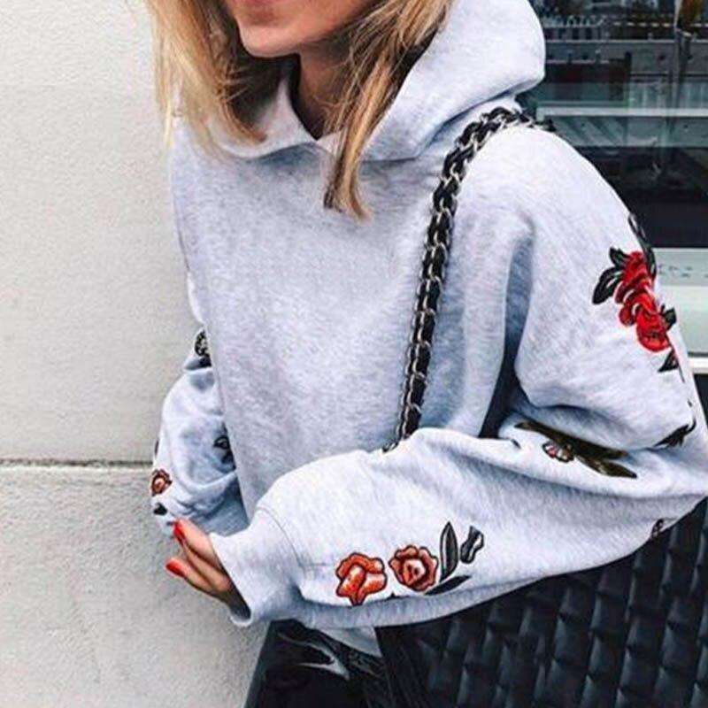 Hoodie Sweatshirt Women Hoody Flora Long Sleeve Patchwork Women Tops Pullovers Feminino Casual Sweatshirts Drop Shopping FY158