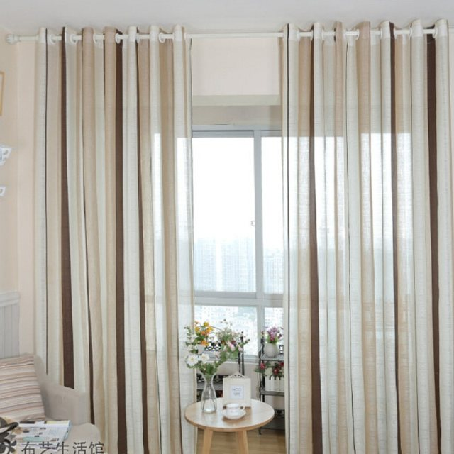 Coffee Striped Pattern Fringe Curtain Yarn Curtains Linen Brown Fabric Bedroom Kitchen WP222B