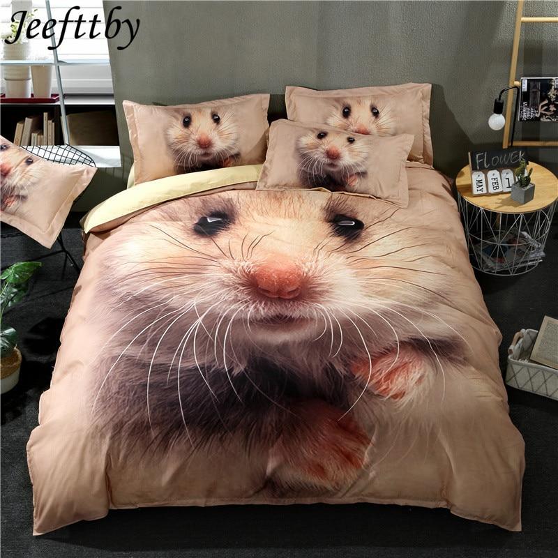 Jeefttby New Cartoon Animal Hamster Bedding Set 3/4pcs Single King Duvet Cover For Kids Girls Boys Quilt Cover Sheet Pillowcase