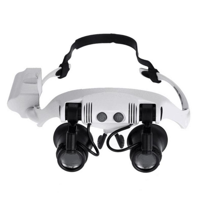 Head Wearing Spectacle Magnifier Replaceable lens Eye Glasses Loupe with Lamp Jeweler Clock Watch Repair Magnifying Glass Tool
