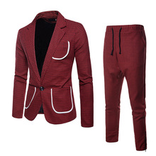 fashion 2019 spring plaid mens suits tuxedo 2 pieces pocket terno slim fit masculino with pants