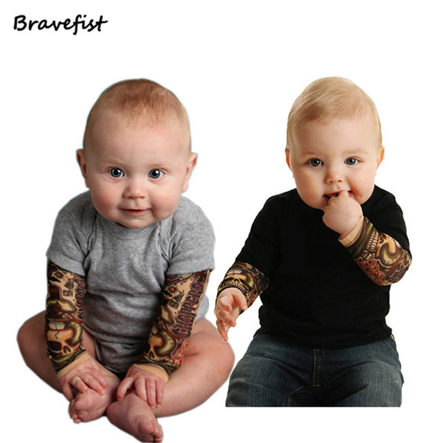 60c567cb06b28 US $9.62 10% OFF|0 24M 1Pc Newborn Toddler Kids Baby Boy Romper Jumpsuit  Little Boys Rompers Long Sleeve Tattoo Baby Girls Boys Clothing Outfits-in  ...