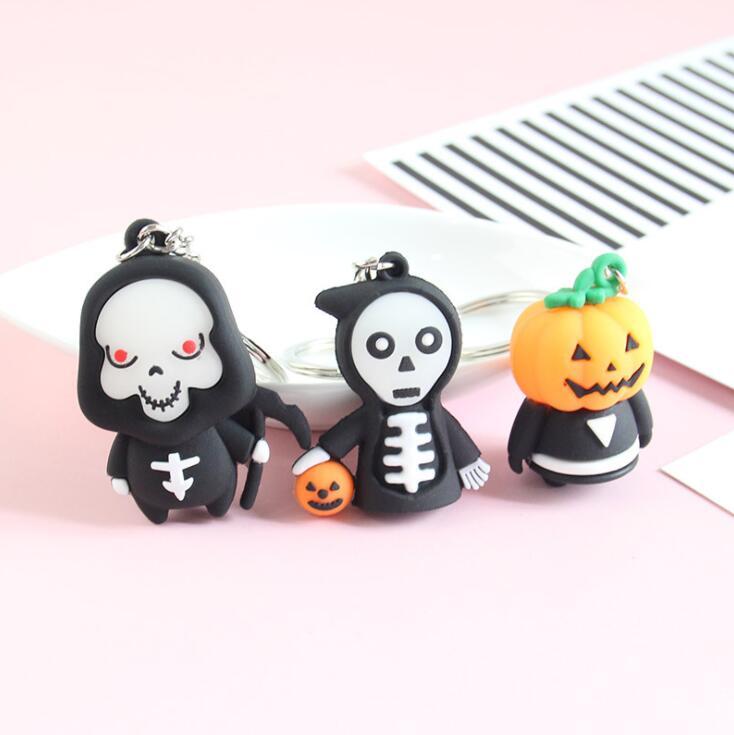 Keychains For Men Women Car Bag KeyRing Fashion Gift Resin Pumpkin Halloween Gift Ghost Grim Reaper