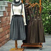 New Japanese Mori Girl Little Fresh Plaid Straps Skirt Autumn/Winter Fashion Casual High Waist Skirt Black Gray Chocolate Coffee