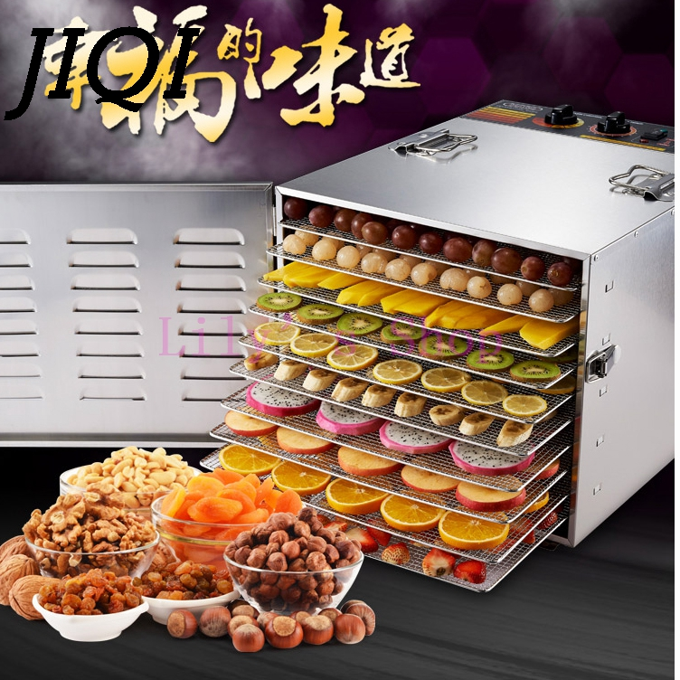 Stainless steel Food Dehydrator Fruits Vegetable Herb Drying Machine Snacks Meat Dried Food Dryers Commercial Processor 10 Tiers wavelets processor