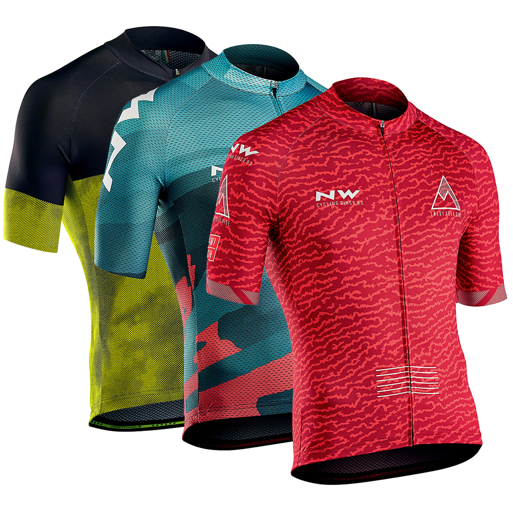 Team <font><b>NW</b></font> <font><b>NORTHWAVE</b></font> <font><b>2019</b></font> Summer Men's Cycling Jersey Shirts Short Sleeve Maillot Ciclismo Quick Dry MTB Bike Tops Clothing Wear image