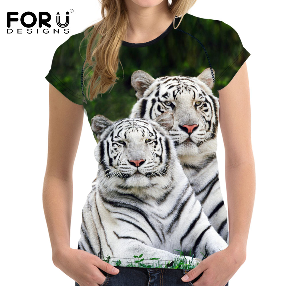 Forudesigns 3D White Tiger Women T Shirt Crop Top For -1418