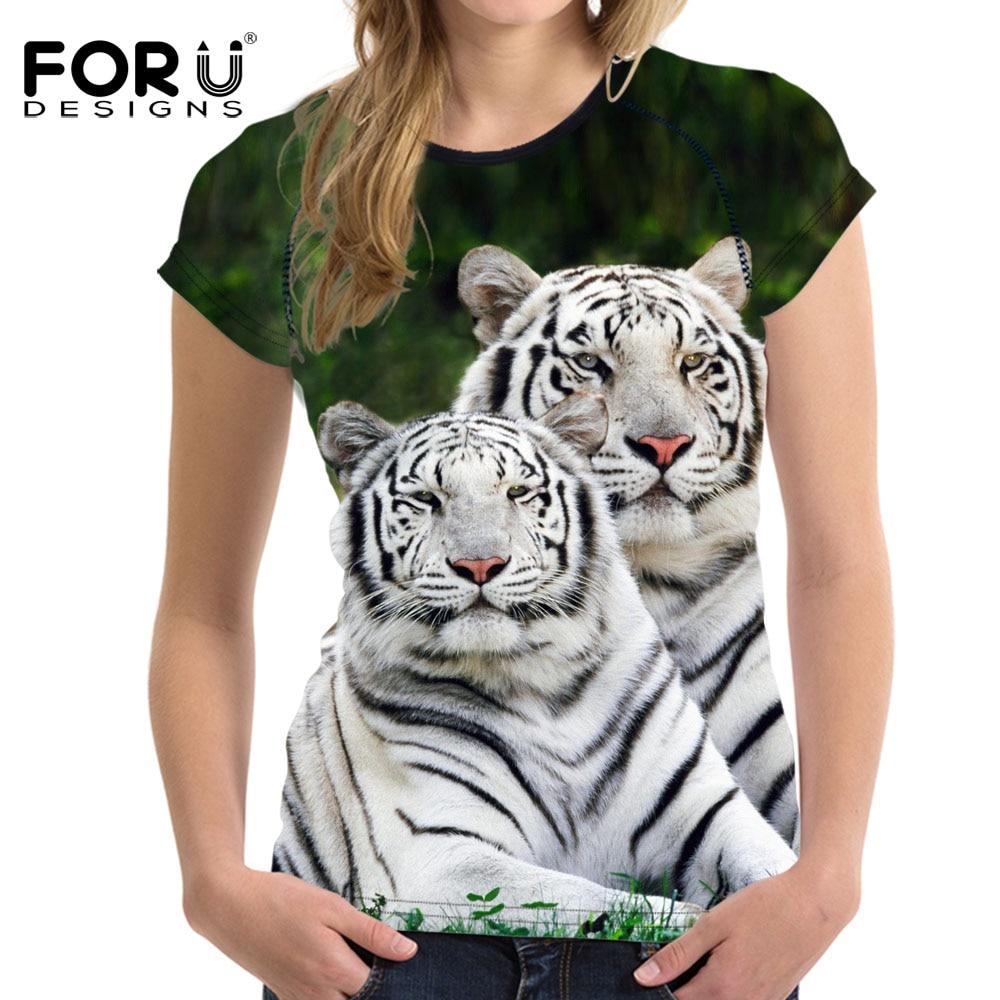 FORUDESIGNS 3D White Tiger Women T Shirt Crop Top For ...