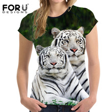FORUDESIGNS 3D White Tiger Women T Shirt Crop Top For Woman T-shirt 2017 Summer Short Ladies Tee Shirt Brand Feminine Clothes