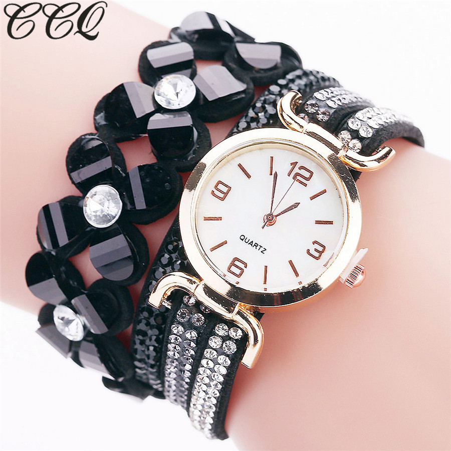 CCQ Brand Fashion Flower Watch Casual Women Luxury Läderarmband Armbandsur Klocka Quartz Klockor Relogio Feminino 2144