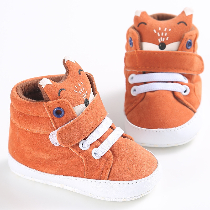 DreamShining Autumn Baby Shoes Cartoon Fox Newborn First Walkers Cotton Anti-slip Soft Sole Girl Boy Shoes Toddler Sneakers new striped styles new canvas sport baby shoes newborn bebe boy girl first walkers infantil toddler soft sole prewalker sneakers