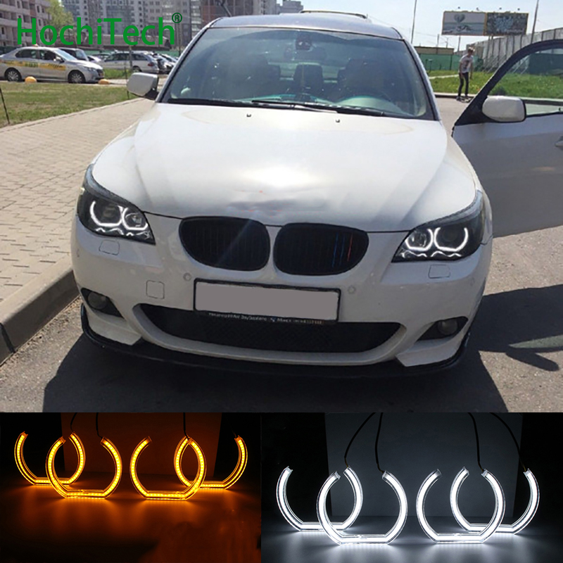 White and Turn Yellow Signal Crystal DTM Style LED Angel Eyes Halo Rings Light kits For BMW 5 SERIES E60 E61 LCI M5 2007-2010 for bmw 5 series e60 e61 lci 525i 528i 530i 545i 550i m5 2007 2010 xenon headlight dtm style ultra bright led angel eyes kit page 2