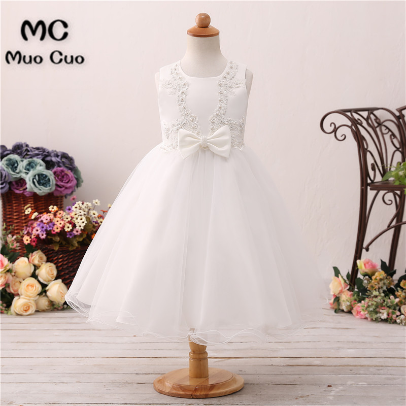 Puffy 2018 Ball Gown Pearls first communion   dresses   for   girls   Bow kids evening gowns   flower     girl     dresses   for weddings