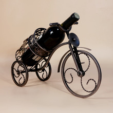1PC Coffee Gold high-end vintage wine rack European tricycle wine holder Home Furnishing decor J2054
