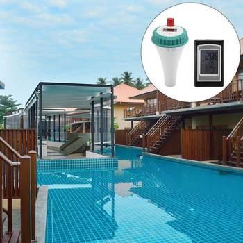 Pływające wody termometry bezprzewodowy pilot zdalnego basen Spa termometr z cyfrowym wyświetlaczem LCD do baseny Spa jacuzzi tanie i dobre opinie Floating Thermometer Z tworzywa sztucznego