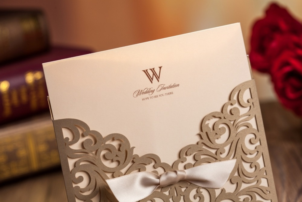 Wishmade Gold Laser Cut Wedding Invitations Cards 1 Card Envelope Seals Cw5011 In From Home Garden On Aliexpress Alibaba