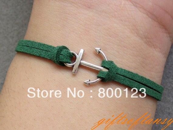 Anchor Bracelet-- Cute Silver Anchor Bracelet, Green Rope Bracelet, Best Gift for Friend-C392