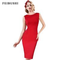 FEIBUSHI Women Summer Elegant Sexy Lace Female 50s 60s Retro Style Rockabilly Swing Wedding Party Dress