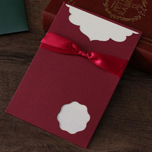 10Pcs/lot Wine Red Hollow Card Bow Tie Wedding Party Invitation Card Personalized Creative Birthday Card with Blank Inner Page 10pcs lot handmade single page paper greeting card birthday party invitation with blank inner page gift card