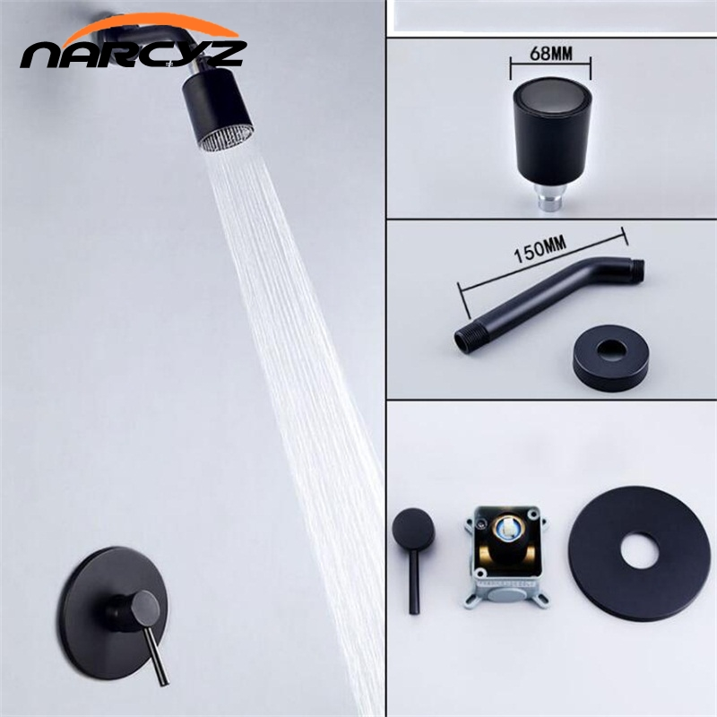 Rainfall Shower set bathroom shower mixer black In wall shower set concealed nozzle removable cleaning shower
