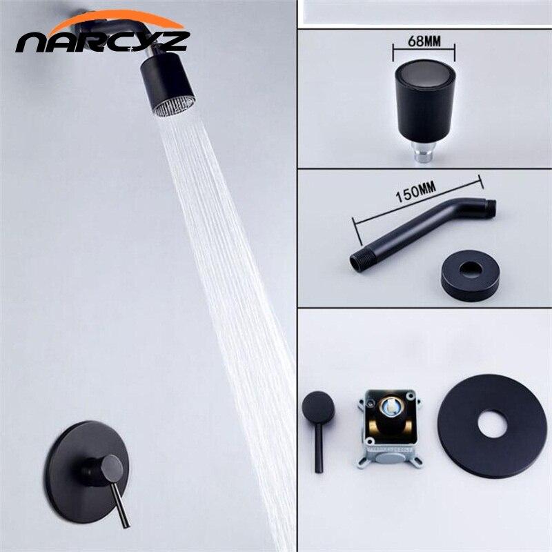 Ensemble de douche à effet pluie mitigeur de douche salle de bain ensemble de douche noir dans le mur buse dissimulée nettoyage amovible ensembles de douche XT399