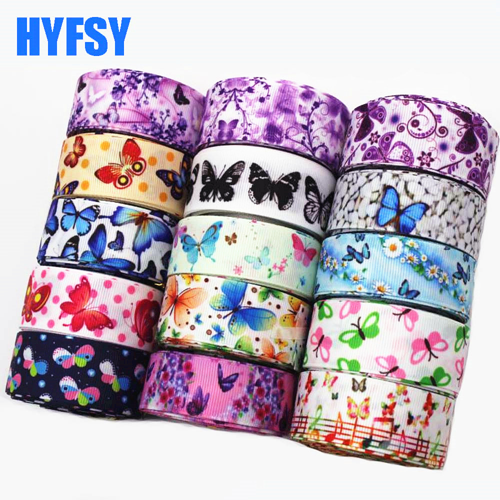 7/8 22mm <font><b>1</b></font> '<font><b>25</b></font> mm <font><b>10</b></font> yards blue butterfly series hair bow diy material bags shoulder party decoration cartoon grosgrain Ribbon image