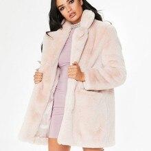 Faux Fur Coat mujeres manga larga gruesa caliente ráfaga chaquetas más  tamaño abrigo de invierno negro amarillo Rosa rojo abrigo. 966bdb937421
