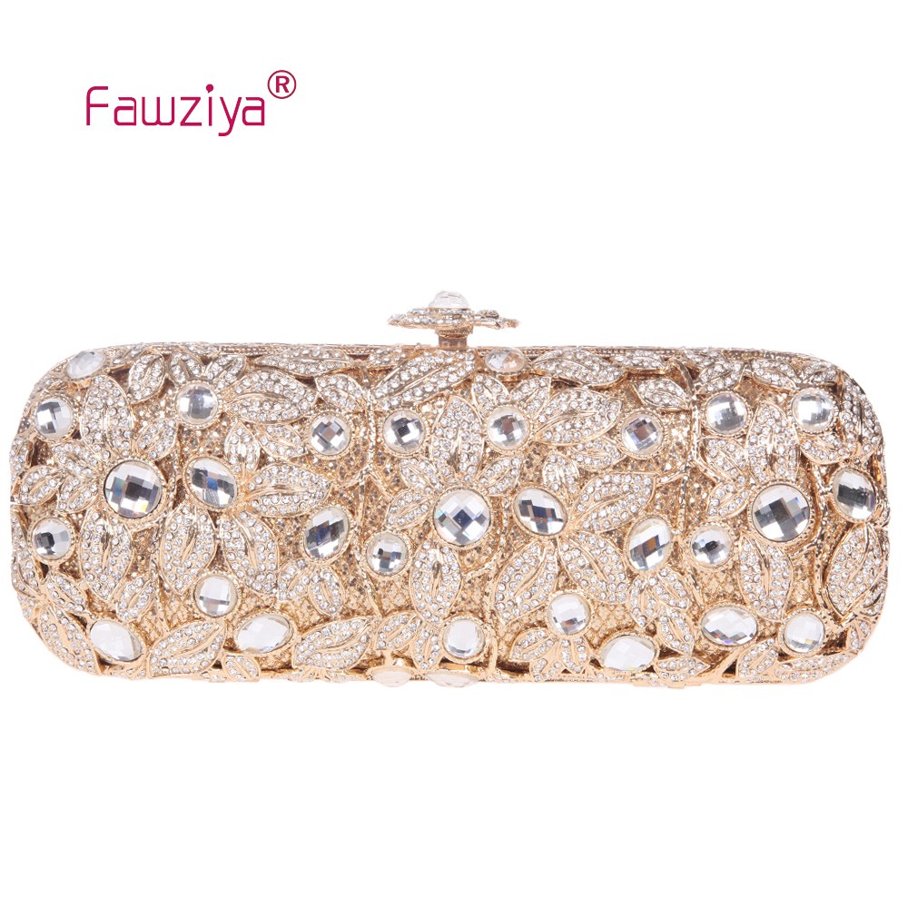цена Fawziya Flower Clutch Baguette Flower Purses With Rhinestones Crystal Evening Clutch Bags онлайн в 2017 году