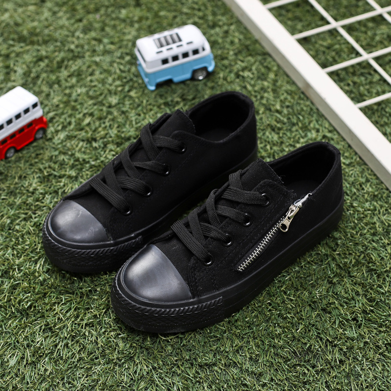 Kids Shoes For Girl Baby Canvas Shoes Children Shoes Boys Sports Sneakers Black Classic Solid Color Zip Fashion 2019 New Arrival