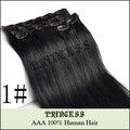 """15 """" - 22 """" Remy cabelo clipes retas em extensões de cabelo de 75gr preto # 1"""