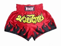 Muay Thai Shorts Red with Black Flame Boxing Shorts Sports Shorts MMA Shorts Free Shipping