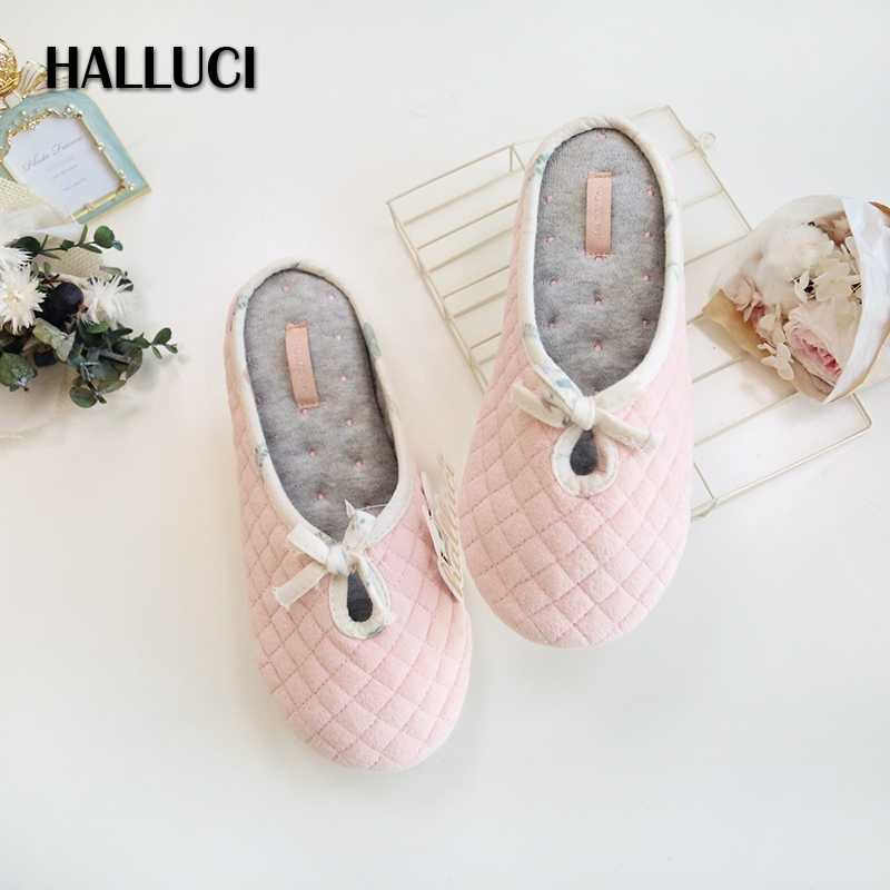 82a0693b00af61 HALLUCI Hot SALE pure cotton home slippers shoes for woman casual indoor  soft floor slippers Pregnant