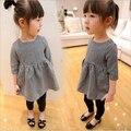 Мода хлопок девушки летнее платье, черный/белый плед дети платье половина рукава прохладный девочка одежда детская одежда 3 т-9 т