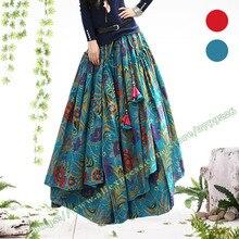 Дизайнерские весенние осенние размера плюс 5XL богемные хлопковые льняные винтажные повседневные плиссированные длинные юбки макси с цветочным рисунком для женщин