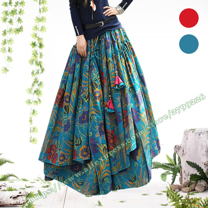 Designs Spring Autumn Plus Size 5XL Bohemia Cotton Linen Vintage Casual Floral flower Pleated Long Maxi Skirts for Womens-in Skirts from Women's Clothing    1