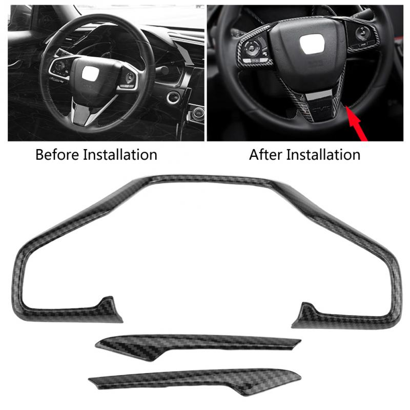 Carbon Fiber Style Steering Wheel Cover Trim for Honda Civic 2016-2017 2018