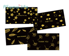 2pcs High-end Business Black Thank You Card Hot Stamping New Year Greeting Festive Party Supplies
