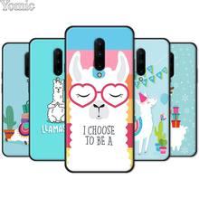 Cute Lama Alpaca Black Case for Oneplus 7 7 Pro 6 6T 5T Silicone Phone Case for Oneplus 7 7Pro Soft TPU Cover Shell
