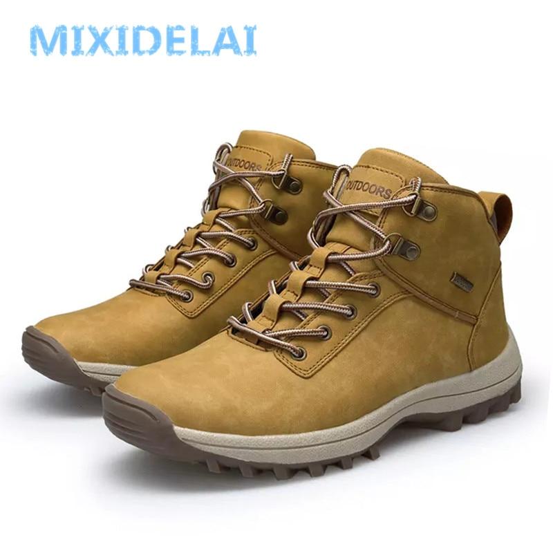 2019 marca botas masculinas tamanho grande 39-46 outono inverno dos homens de couro da forma tênis rendas até sapatos de montanha ao ar livre à prova dwaterproof água