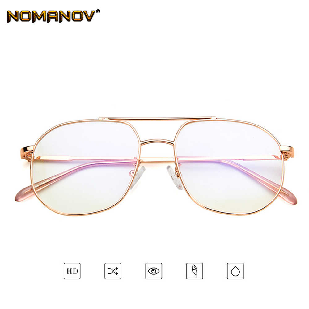 Office Lady Oversized Rose Gold Frame Classic TREND Spectacles with Optical Lenses or Photochromic Gray / Brown Lenses